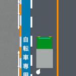 そこに自転車専用通行帯がある。荷捌きはどうするべきか。