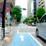 自転車専用通行帯がある道路でクルマが左折する時のふるまい