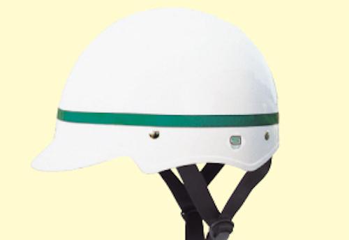元記事から画像が削除されているため、似たような製品の画像を貼っておきます(カワハラ製)。このようなSGマーク付きのヘルメットを「ドカヘル」と紹介していました。