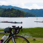 野尻湖畔で小休止。
